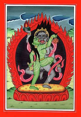 Antique Miniature Painting - Hindu God Shiva Shakti Tantrik Tantra Painting Miniature Watercolor Art by A K Mundra