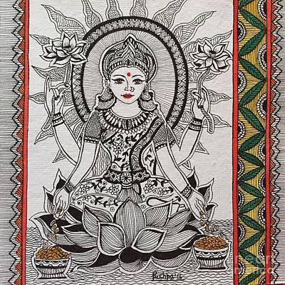 Hindu Goddess Drawing -  Goddess Laxmi - Madhubani  by Pushpa Sharma