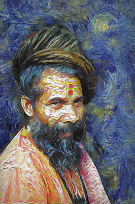 Digital Art - Hindu Sadhu In Van Gogh Style by Nila Newsom