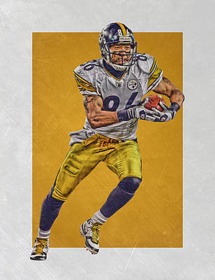 Football Mixed Media - Hines Ward Pittsburgh Steelers Art by Joe Hamilton