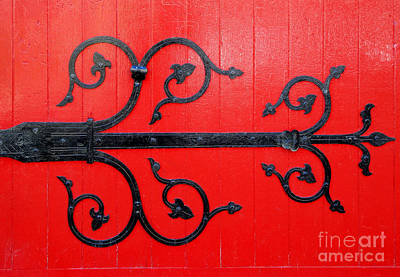 Photograph - Hinge On A Red Door by Ethna Gillespie