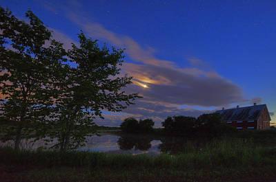 Digital Art - Hinkley Pond Moonset by Patrick Groleau