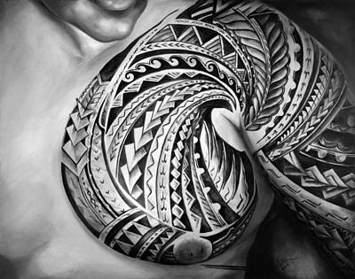 Samoan Painting - Hio In Black And White by Elizabeth York