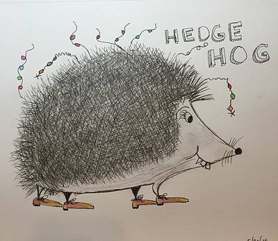 Hip Drawing - Hip Hedge Hog by Theresa Honeycheck