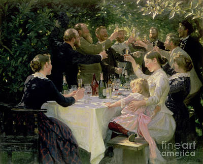 Champagne Glasses Painting - Hip Hip Hurrah by Peder Severin Kroyer