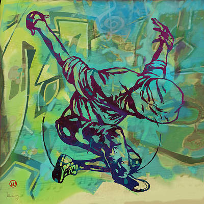 Abstract Drawing - Hip Hop Street Art Dancing Poster - 1 by Kim Wang
