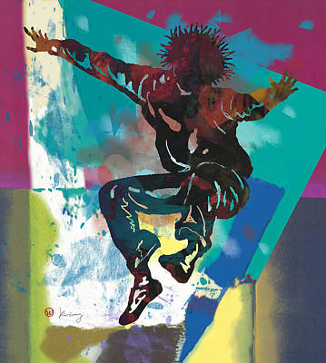 Abstract Pop Drawing - Hip Hop Street Art Dancing Poster - 3 by Kim Wang