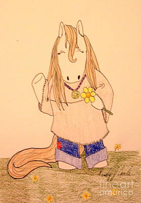 Drawing - Hip Pop Ponies- Flower Power by Wendy Coulson