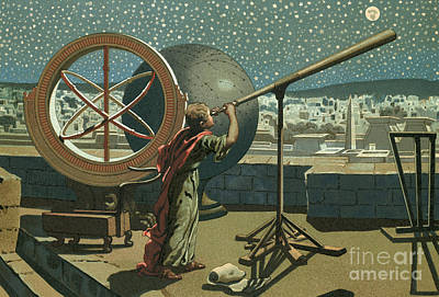 Hipparchus In The Observatory In Alexandria Art Print by Josep or Jose Planella Coromina