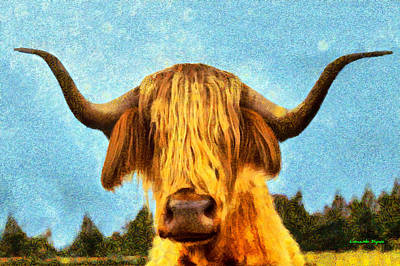 Pasture Digital Art - Hippie Cow - Da by Leonardo Digenio