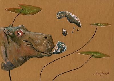 African Art Painting - Hippo Bubbles by Juan  Bosco