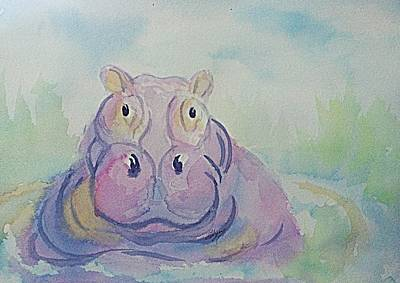 Painting - Hippo  by Ellen Levinson