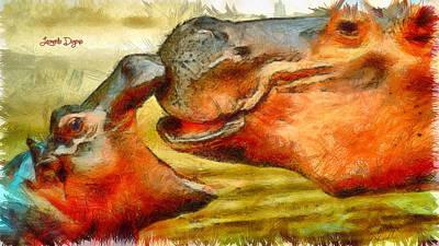 Hippopotamus Digital Art - Hippo Family - Pa by Leonardo Digenio