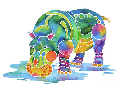 Hippopotamus Painting - Hippo Heaven by Jo Lynch
