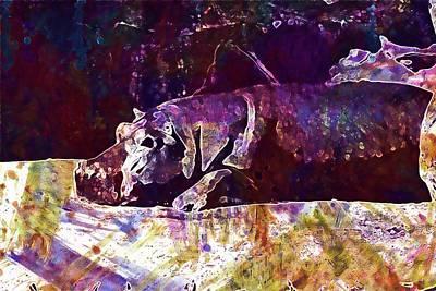 Digital Art - Hippo Hippopotamus Water Zoo  by PixBreak Art