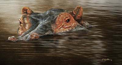Painting - Hippo In The River by Kathie Miller