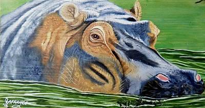 Hippo On Wood Original