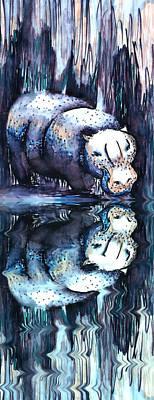 Hippo Reflection Art Print by Geckojoy Gecko Books