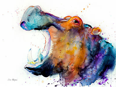 Hippopotamus Mixed Media - Hippo by Slavi Aladjova