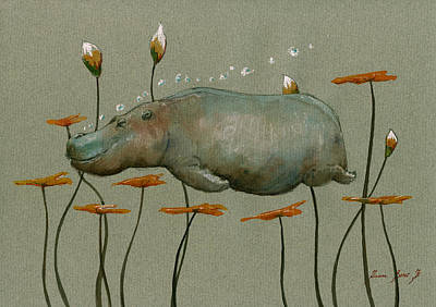 Underwater Painting - Hippo Underwater by Juan  Bosco