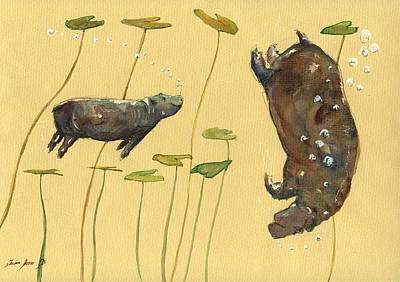 Hippo Watercolor Original by Juan  Bosco