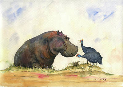 Print Painting - Hippo With Guinea Fowls by Juan Bosco
