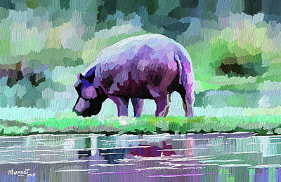 Painting - Hippopotamus by Anthony Mwangi