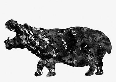 Hippopotamus Digital Art - Hippopotamus-black by Erzebet S