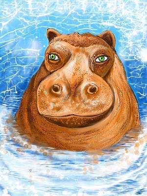 Hippopotamus Digital Art - Hippopotamus For Christmas by Heidi Creed