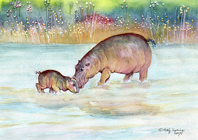 Painting - Hippopotamus  by Melly Terpening