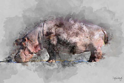 Digital Art - Hippopotamus by Petrus Bester
