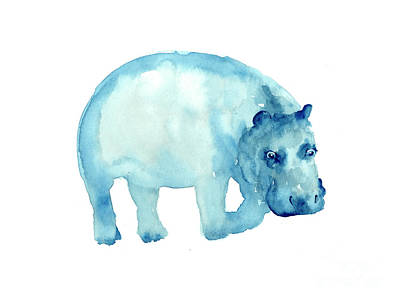 Hippopotamus Mixed Media - Hippopotamus Watercolor Art Print Painting by Joanna Szmerdt