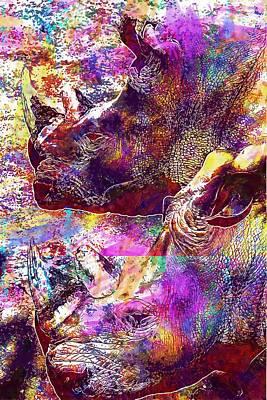 Digital Art - Hippopotamuses Black And White  by PixBreak Art