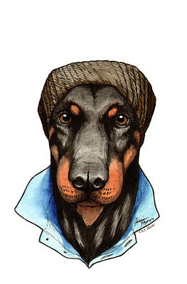 Pinscher Drawing - Hipster Dobie by Jessica Pryor