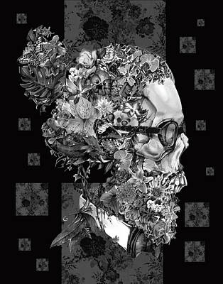 White Shirt Painting - Hipster Floral Skull 3 by Bekim Art