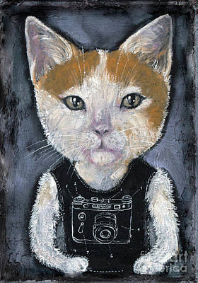 Painting - Hipster Kitty by Angel Ciesniarska