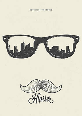 Poster Mixed Media - Hipster Neither Lost Nor Found by BONB Creative