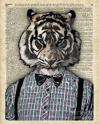 Upcycled Art Digital Art - Hipster Tiger  Plaid Shirt Vintage Dictionary Art Beatnik Art by Jacob Kuch