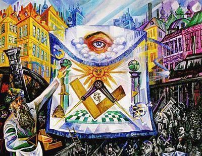 Roussimoff Wall Art - Painting - Hiram's Apron, A Masonic Allegory by Ari Roussimoff