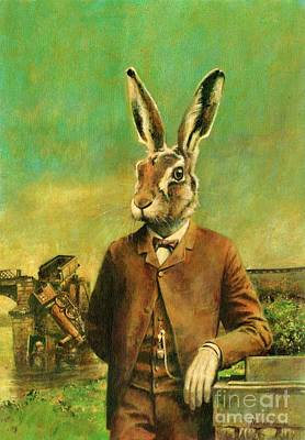 Mad Hatter Painting - Hirsute A Victorian Hare by Michael Thomas