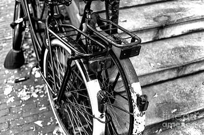 Bicycle Photograph - His And Hers In Amsterdam Mono by John Rizzuto