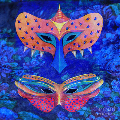 Digital Art - His And Hers Masks On Blue by Nareeta Martin