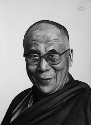 Drawing - His Holiness The Dalai Lama by Vishvesh Tadsare