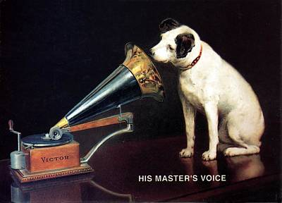 Mixed Media Royalty Free Images - His Masters Voice - HMV - Dog and Gramophone - Vintage Advertising Poster Royalty-Free Image by Studio Grafiikka