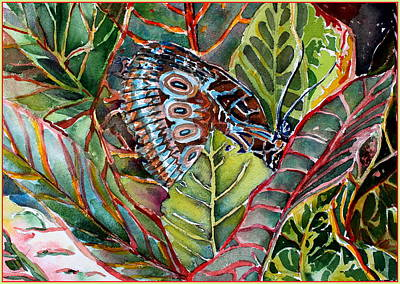 His Monarch In Green And Red Art Print by Mindy Newman