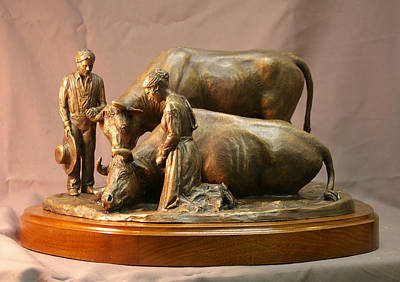 Joseph Smith Bronze Sculpture - His Mothers Faith Bronze Sculpture Of Mary Fielding Smith And Oxen By Stan Watts And Kim Corpany by Stan Watts and Kim Corpany