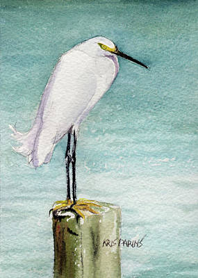 Egret Watercolor Artists Painting - His Post by Kris Parins