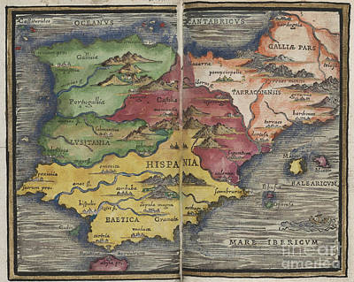 Photograph - Hispania Spain Map By Johannes Honter 1542 by Rick Bures