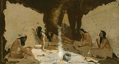 Native American Men Painting - Historians Of The Tribe by Frederic Remington