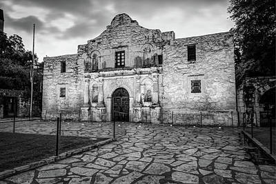 Photograph - Historic Alamo Mission - San Antonio Texas - Black And White by Gregory Ballos